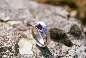 Diamond and amethyst hammered silver ring