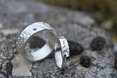 textured rock wedding rings