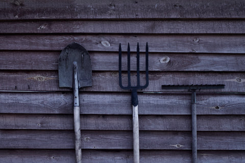 Garden tools ready for fall clean up