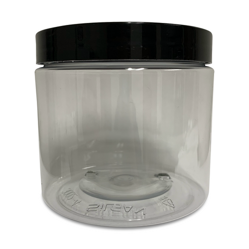 16oz Clear PET Single Wall Jar with Black Smooth Skirt Lid