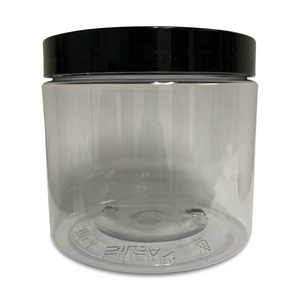 16oz Clear PET Single Wall Jar with Black Smooth Skirt Lid with Foam Liner