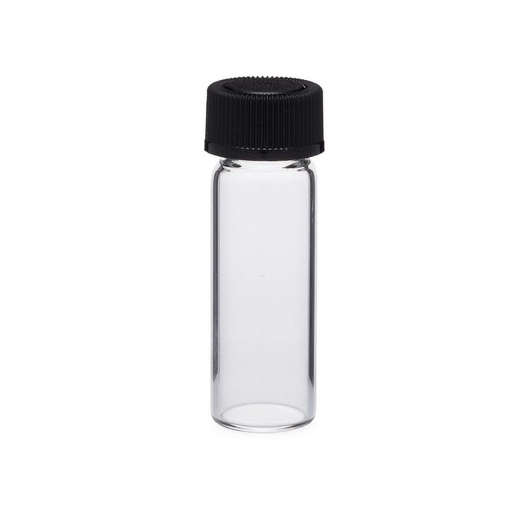 1 Dram (≈4mL) Clear Glass Vial with Black Phenolic Cap