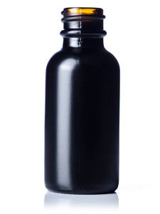 1oz (30mL) Black Glass Boston Round Bottle with 20-400 Neck Finish