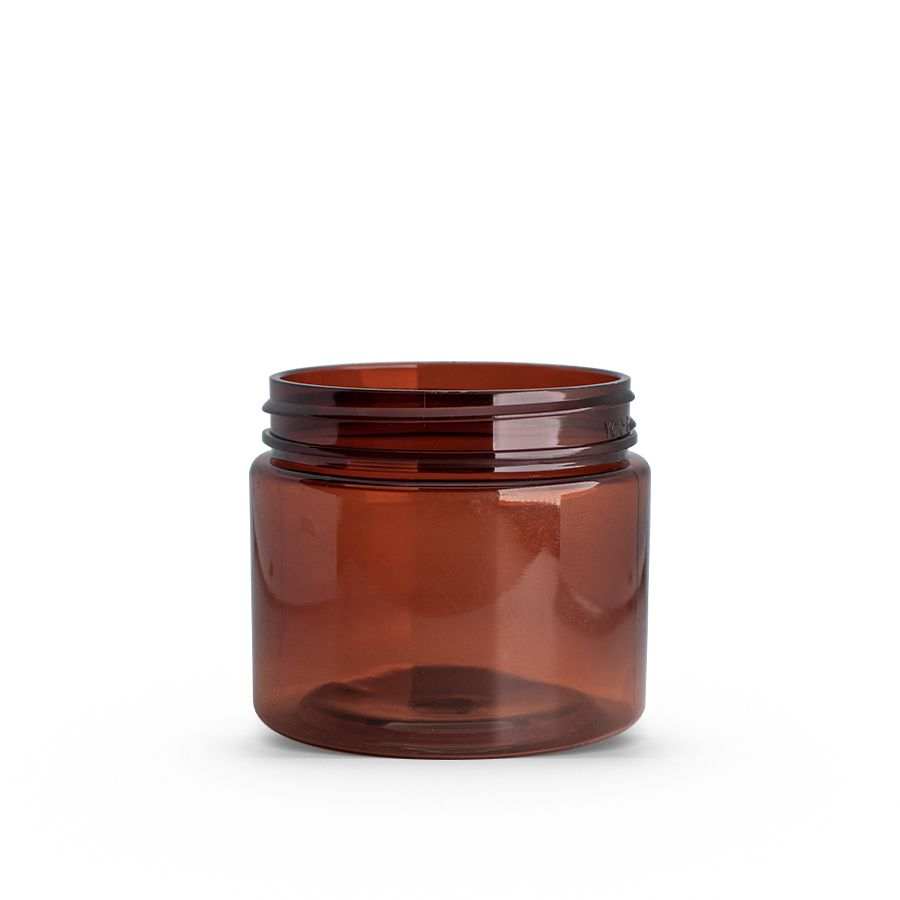 2 oz Amber PET Single Wall Jar with 48-400 Neck Finish