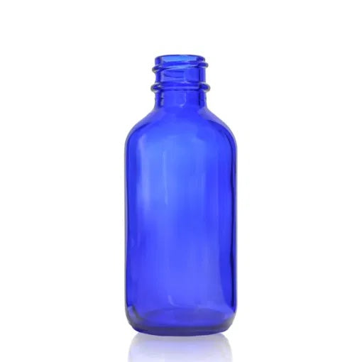 2oz (60mL) Cobalt Blue Glass Boston Round Bottle with 20-400 Neck Finish