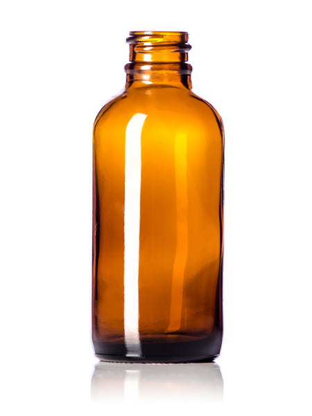 2oz (60mL) Amber Glass Boston Round Bottle with 20-400 Neck Finish