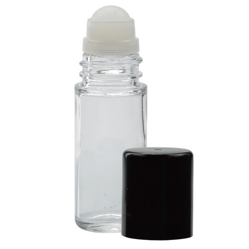 1oz (30ml) Clear Glass Roll-On Bottle with Black Cap