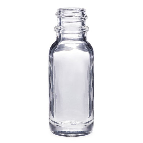1/2oz (15ml) Clear Glass Boston Round bottle with 18-400 Neck Finish