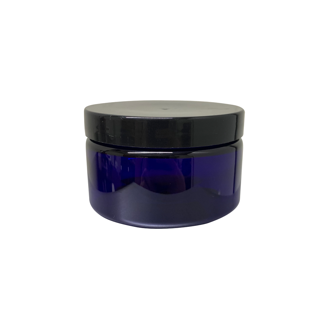 4oz Cobalt Blue PET Single Wall Jar with 70-400 Neck Finish with Black Smooth Skirt Lid