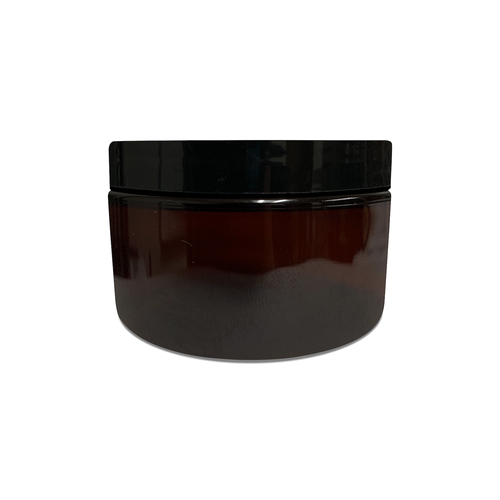 4oz Amber PET Single Wall Jar with 70-400 Neck Finish with Black Smooth Skirt Lid