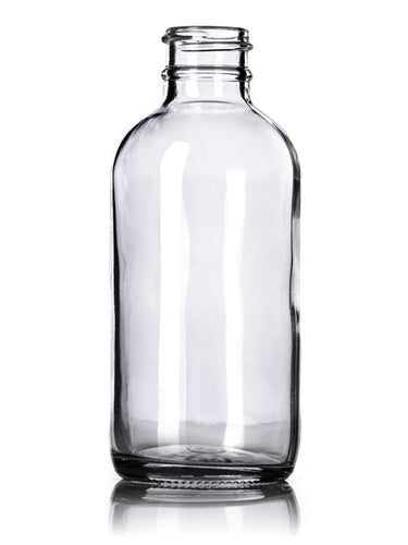 4oz (120ml) Clear Glass Boston Round Bottle with 24-400 Neck Finish