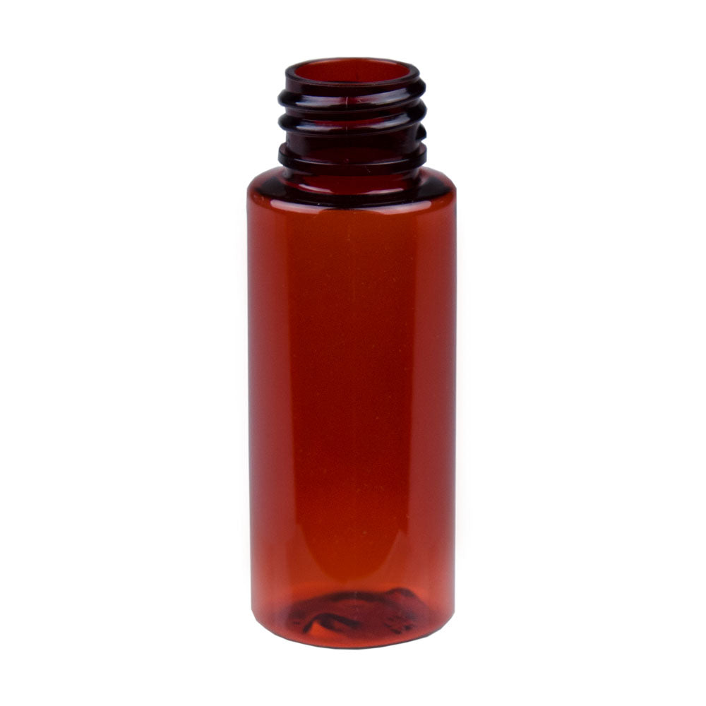 1oz Amber PET Cylinder Bottle with 20-400 Neck Finish
