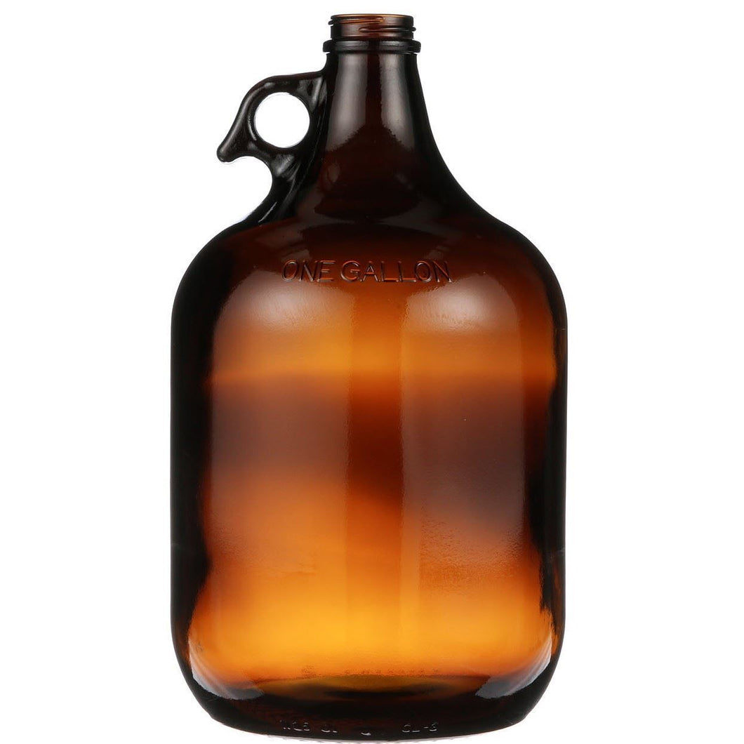 1gal Glass Amber Growler Jug with Black Lid