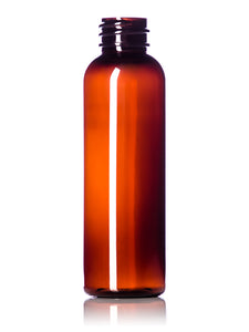 2oz amber PET Cosmo Round Bottle with 20-410 Neck Finish