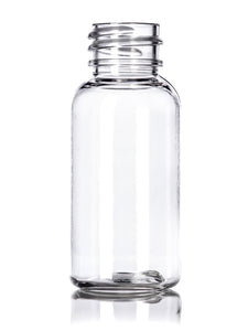 1oz Clear PET Boston Round Bottle with 20-410 Neck Finish