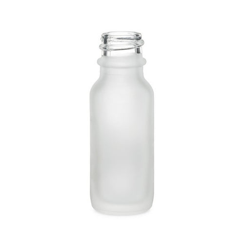 1/2oz (15ml) Frosted Clear Glass Boston Round Bottle with 18-400 Neck Finish