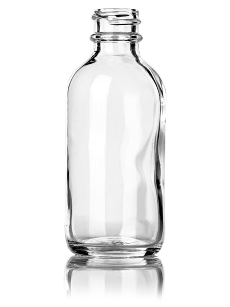 2oz Clear Glass Boston Round Bottles with 20-400 Neck Finish
