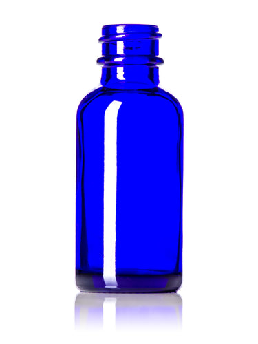 1 oz cobalt blue glass boston round bottle with 20-400 neck finish