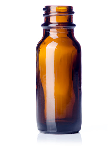 1/2oz (15ml) Amber Glass Boston Round Bottle with 18-400 Neck Finish