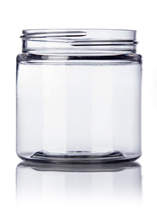 4oz Clear PET Single Wall Jar with 58-400 Neck Finish with Black Flat Smooth Skirt Lid