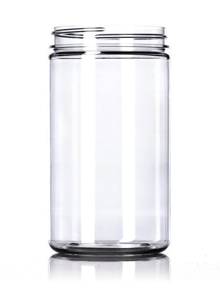 32oz Clear PET Single Wall Jar with 89-400 Neck Finish with Black Smooth Skirt Lid