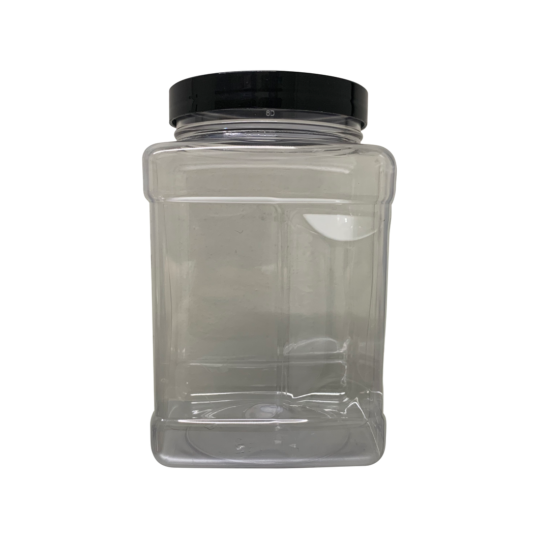 64oz Clear PET Square Grip Container with 110-400 Neck Finish with Black Smooth Skirt Lid