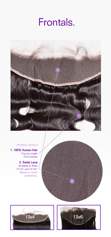 Our Body Wave Texture 13x4 and 13x6 Lace Frontal is sourced from 100% Remy Human Hair. A Type 1C Curl/Hair pattern and it's texture base most closely matches European or Latin American hair in appearance and consistency. This texture is soft, smooth with a natural lustre and shine. Zero to minimal shedding. 100% Virgin Human Hair upgrades available. Co-washing is highly recommended or wash with a sulfate free shampoo + conditioner.