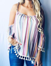 Load image into Gallery viewer, Open Shoulder Multi Striped Print with Lace Trim Top