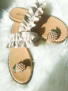Pineapple Pattern Toe Ring  Casual Sandal