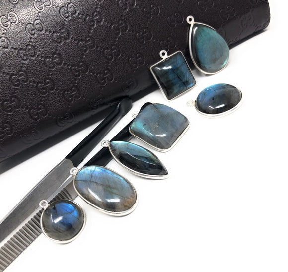 17.5x11mm Briolette Connectors 7 Pcs Labradorite Gemstone Sterling Silver Connectors Wholesale Jewelry Findings for Jewelry Making
