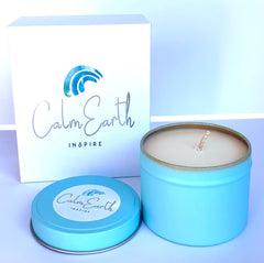 coconut and lime Fragrance - 7-8 Hour Burn Time - 230g - Cotton Wick - Pure Soy Wax - Small aqua Round Tin