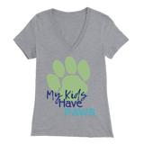 My Kids Have Paws Dachshund V-Neck