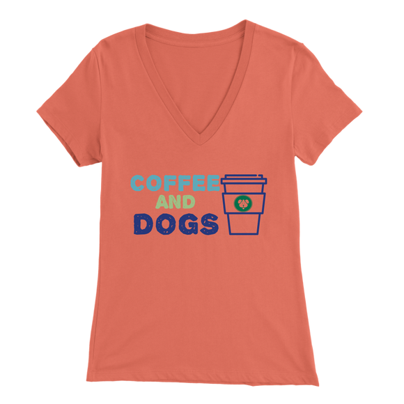 Coffee and Dogs Bulldog V-Neck