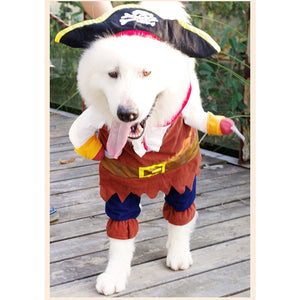 Top Funny Cat Costume Pirate Suit Cat Clothes Corsair Halloween Costume Puppy Suit Dressing Up Party Clothes For Cat