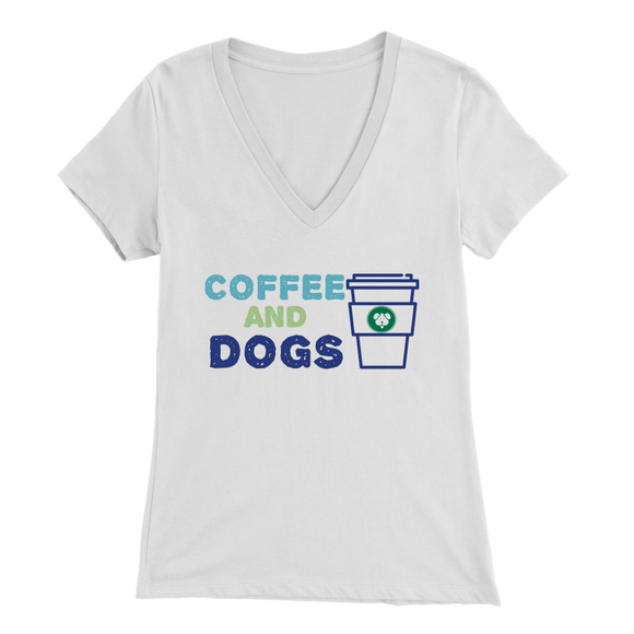 Coffee and Dogs Golden Retriever V-Neck