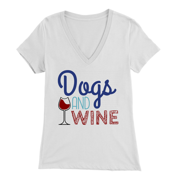 Dogs and Wine Golden Retriever V-Neck