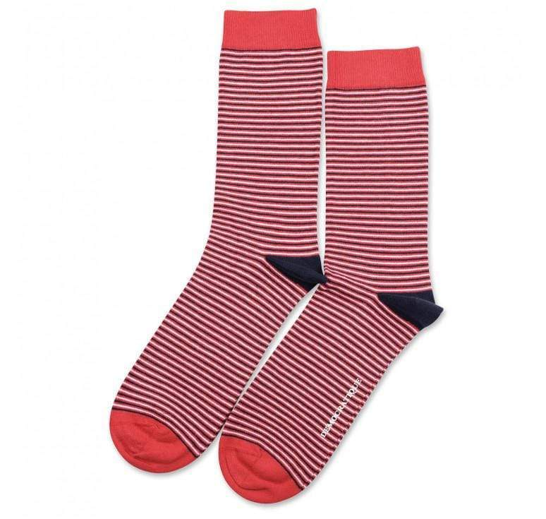 Democratique Socks  Originals Ultralight Stripes Spring Red/Navy/Clear White zokni