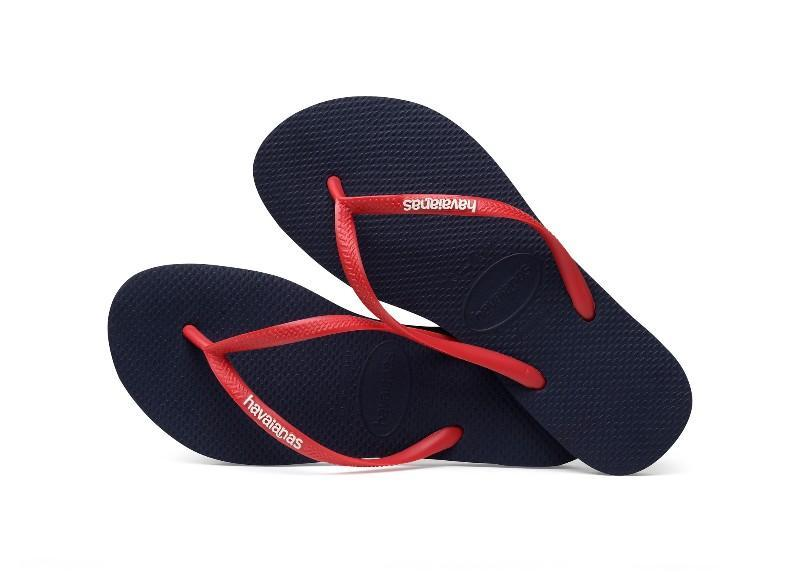 Havaianas Slim Logo Női Papucs - Navy Blue/Ruby Red
