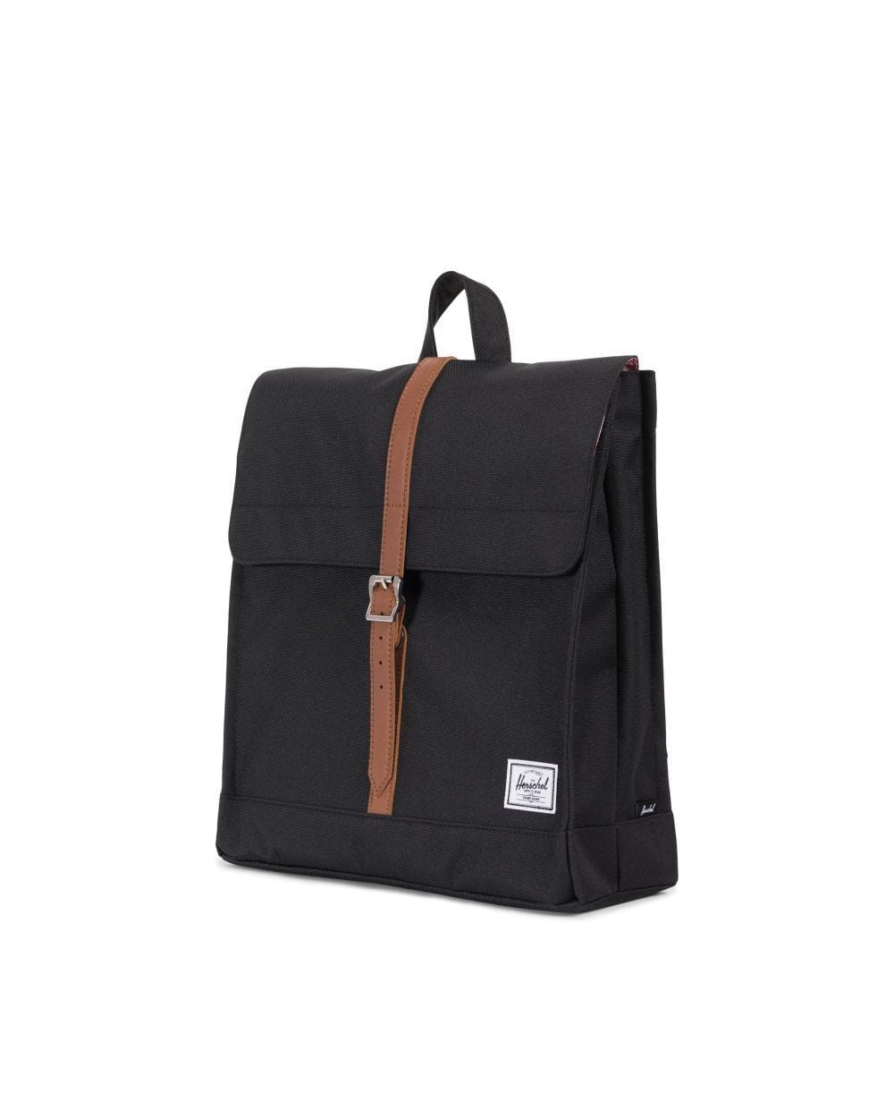 Herschel City Mid-Volume hátizsák - Black/Tan Synthetic bőr