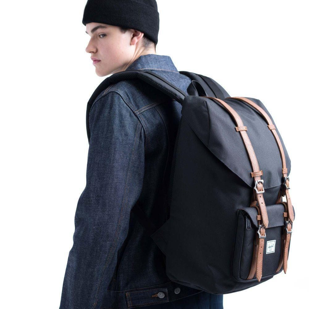 Herschel Little America Mid-Volume Black Crosshatch/Black Hátizsák