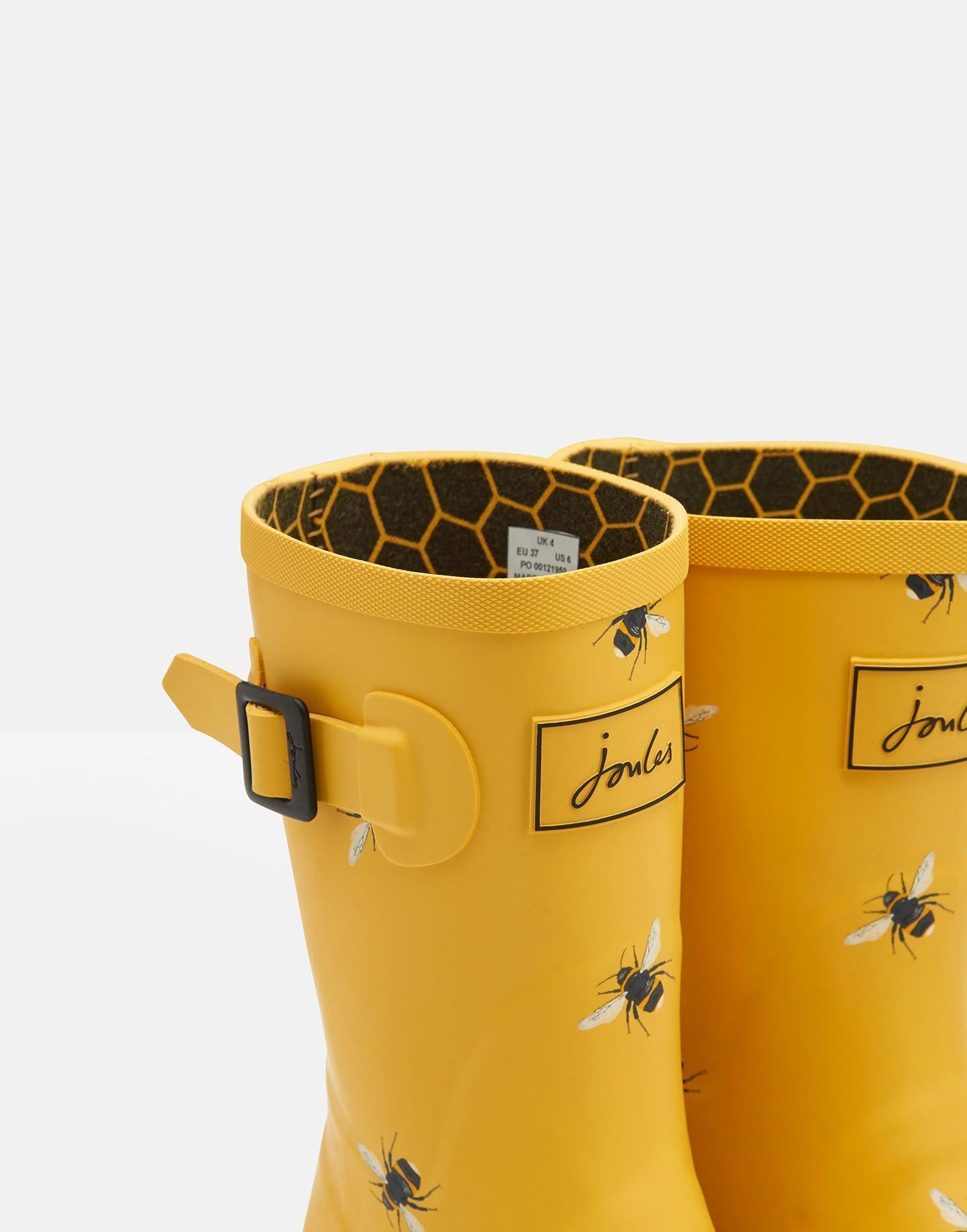 Joules Női Mollywelly Gumicsizma - Gold Botanical Bee