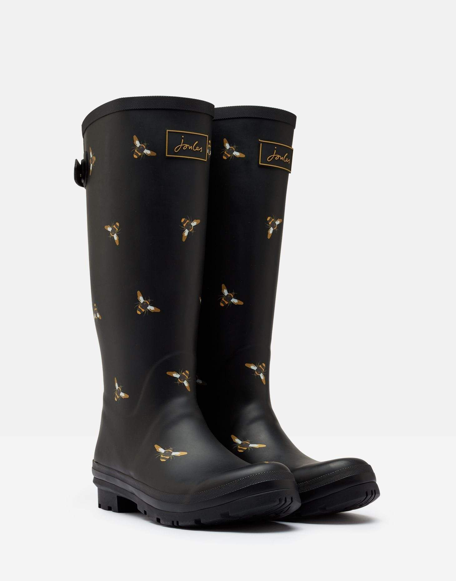 Joules Welly Print Black Metallic Bees Női gumicsizma