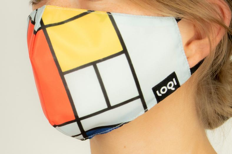 LOQI PIET MONDRIAN Composition with Red, Yellow, Blue and Black Mask - textil arcmaszk