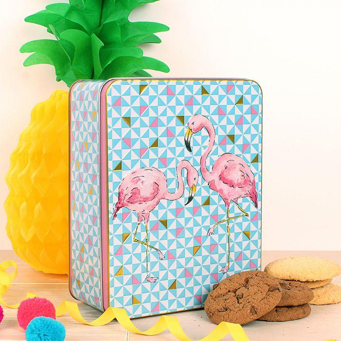 Milly Green Flamingo Embossed Tin Of Biscuits - Shortbread & Triple Choc Chip Biscuits 400G