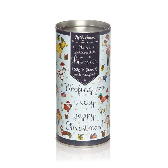 Milly Green Yappy Christmas Cylinder Of Biscuits -  Butterscotch 160G
