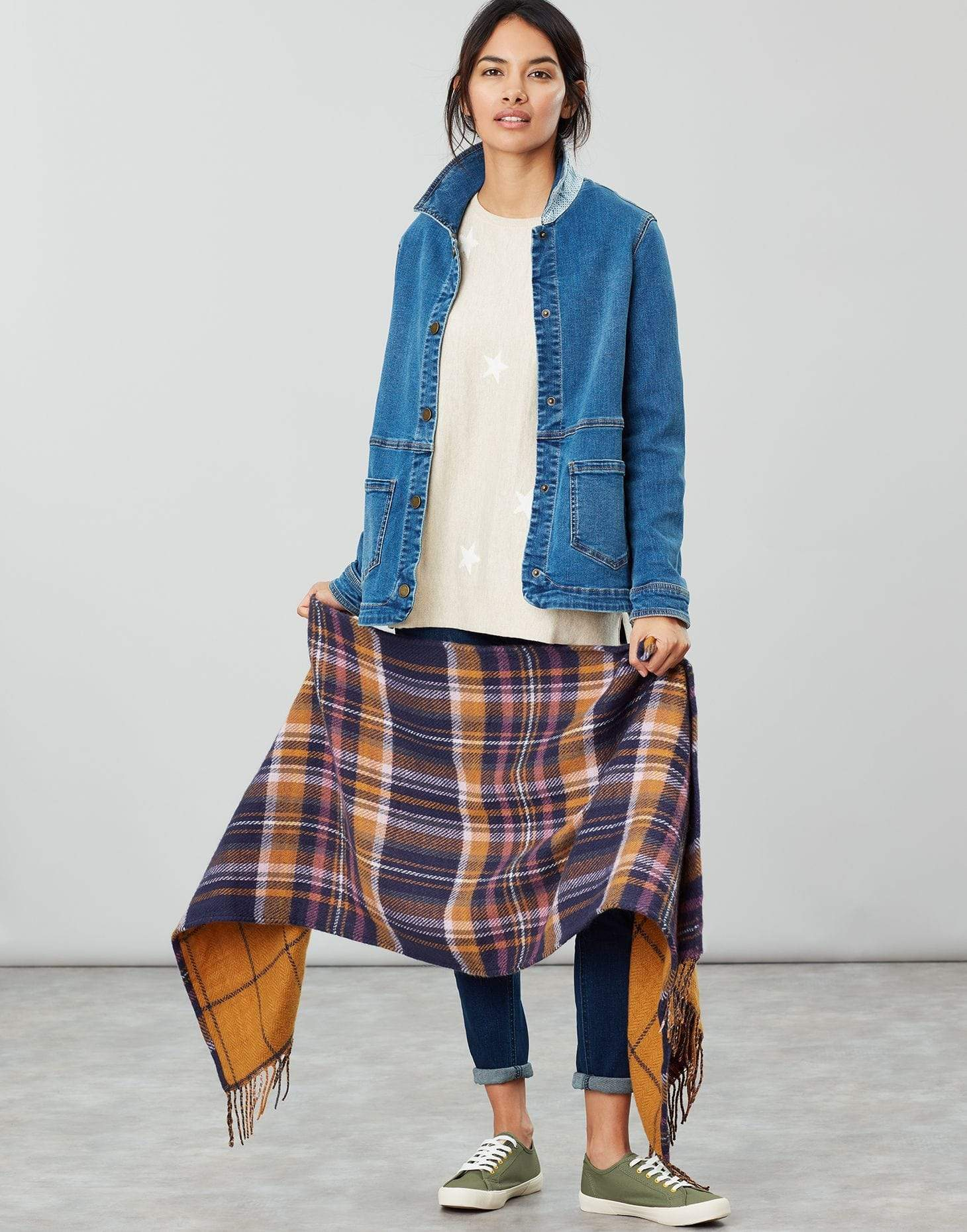 Joules Upton Navy Yellow Check Női sál