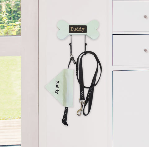 Personalised Pet Green Lead Hooks and Neckerchief