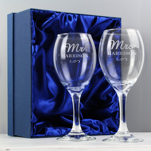 Personalised Mr & Mrs Wine Glass Set