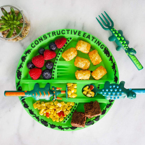 Constructive Eating Dino Cutlery and Plate Set