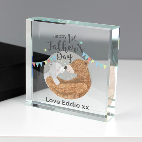 Personalised 1st Father's Day Large Crystal Plaque